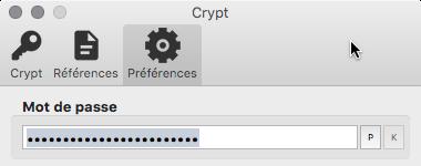 Rentrer un mot de passe dans Crypt